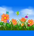 many insect flying in flower garden vector image vector image
