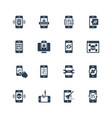mobile security icon set in glyph style vector image