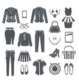 Modern Woman Clothes Black Icons vector image