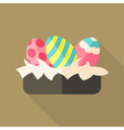 Nest with Easter eggs vector image