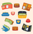 open purse leather wallet with money shopping vector image