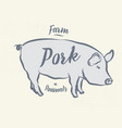 pig pork vintage logo retro print poster for vector image