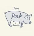 pig pork vintage logo retro print poster for vector image vector image