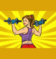 pop art sporty woman with dumbbells vector image