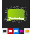 Ramadan paper sticker with hand drawn elements vector image vector image