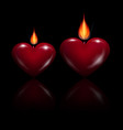 red heart shaped candles vector image vector image