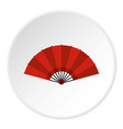 red open hand fan icon circle vector image vector image