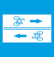 road for cyclists icon white vector image vector image