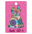 Sale label with dress colorful vector image