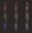 set color paper clips vector image vector image