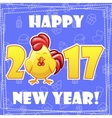Set greeting card Happy New Year-cartoon Rooster vector image vector image