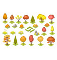 set isolated autumn trees and stones vector image