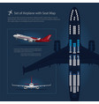 set of airplane with seat map isolated vector image vector image