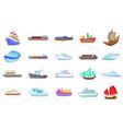 ship icon set cartoon style vector image vector image