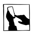 silhouette hand businessman using mobile phone vector image vector image