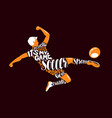 soccer player scores a goal in jump sports vector image vector image