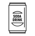 soda drink can icon outline style vector image vector image