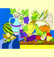 vegetables and fruits harvest style vector image vector image
