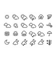 weather line icons sun clouds rain snow wind fog vector image