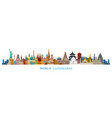 world skyline landmarks in flat design style vector image