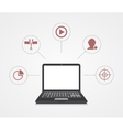 digital marketing Laptop with sample icons vector image