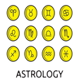 Zodiac button collection vector image