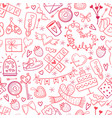 valentine day doodles elements pattern cute vector image