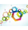 Abstract colored background with hexagon objects