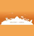 africa skyline curve landmarks silhouette vector image