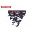 Airshow emblem Biplane label Retro Airplane vector image vector image