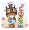 Bear and Owls vector image vector image