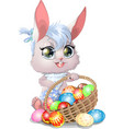 beautiful easter bunny vector image vector image