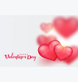 beautiful pink 3d hearts valentines day background vector image