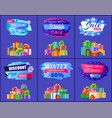 best discount winter sale posters set promo labels vector image