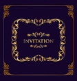 best invitation gold frame vector image vector image