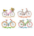 bicycles set retro bikes vector image vector image