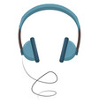 blue headphones on white background vector image vector image