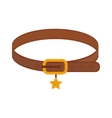 Brown leather animal dog collar with golden star vector image