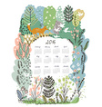 Calendar 2016 with nature theme - trees and vector image