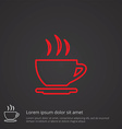 cap of tea outline symbol red on dark background vector image vector image