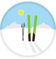 cartoon circle winter symbol icon with skis vector image vector image