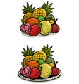 cartoon colorful fruits on tray set vector image vector image