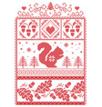 christmas pattern with acorn squirrel vector image vector image