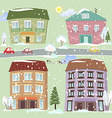 Collection of cute houses vector image vector image