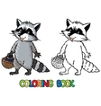 Coloring book of little funny raccoon vector image vector image