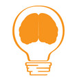 conceptual idea lightbulb with a brain icon vector image vector image