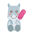 cute hippo with sweet lollipop vector image vector image