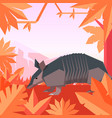 flat geometric jungle background with armadillo vector image vector image