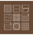 Flooring Flat icons of laminate parquet carpets vector image