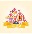 fun fair carnival carousel tent and ticket booth vector image vector image